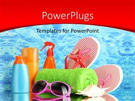 PowerPoint template displaying holiday depiction with sun glasses green towel and other beach accessories
