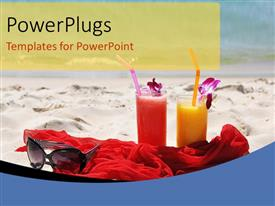 PowerPoint template displaying holiday depictions with sunglasses on red shawl in beach sand