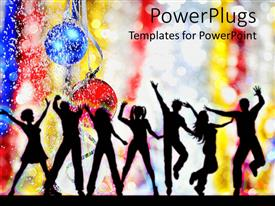 PowerPlugs: PowerPoint template with holiday party with silhouettes dancing, Christmas balls, snow