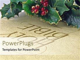 PowerPlugs: PowerPoint template with holly berries and leaves on Bible