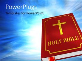 PowerPoint template displaying the holy bbook of bible with bluish background