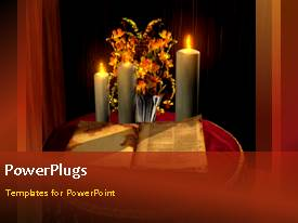 PowerPlugs: PowerPoint template with the holy bible with candles and flowers