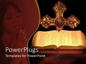 PowerPlugs: PowerPoint template with the holy bible and the cross along with a lady praying