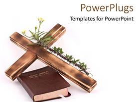 PowerPlugs: PowerPoint template with the holy bible with a cross and white background