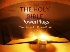PowerPlugs: PowerPoint template with holy bible with lighted candle in orange background
