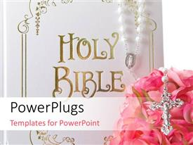 PowerPlugs: PowerPoint template with the holy bible with a lot of roses and a cross
