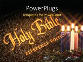 PowerPlugs: PowerPoint template with the holy bible with a number of candles
