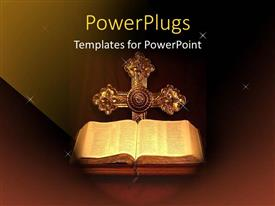 PowerPlugs: PowerPoint template with holy Bible opened with a cross on a dark background