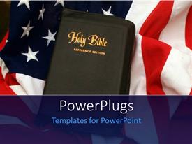 PowerPlugs: PowerPoint template with holy Bible over United States of America flag