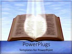PowerPlugs: PowerPoint template with holy bible shining a light blue skies reading on blue background