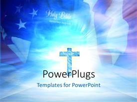 PowerPoint template displaying a holy cross with American flag in the background