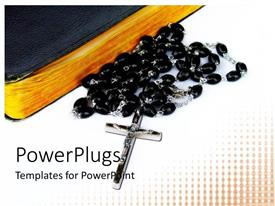 PowerPoint template displaying a holy cross with beads and white background