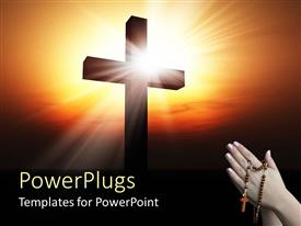 PowerPoint template displaying holy cross with beautiful sunrise in background and woman with rosary