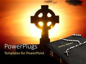 PowerPoint template displaying a holy cross with a bible and a sign in the background