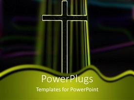 PowerPoint template displaying a holy cross with blackish background
