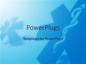 PowerPlugs: PowerPoint template with a holy cross with a bluish background