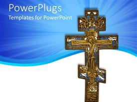 PowerPlugs: PowerPoint template with a holy cross with bluish background