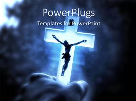 PowerPoint template displaying a holy cross with a blurr background