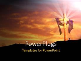PowerPlugs: PowerPoint template with a holy cross with clouds in the background