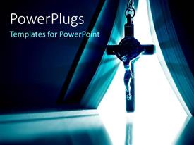 PowerPlugs: PowerPoint template with a holy cross with a curtain in the background