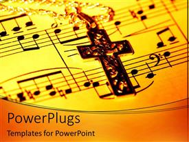PowerPlugs: PowerPoint template with a holy cross in front of a music chart