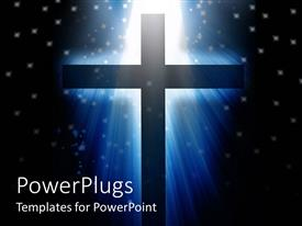 PowerPlugs: PowerPoint template with a holy cross with galaxies in the background