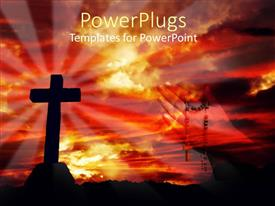 PowerPlugs: PowerPoint template with a holy cross with hands praying in the background