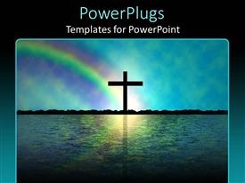 PowerPlugs: PowerPoint template with a holy cross on an island with rainbow in the background