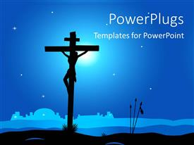 PowerPlugs: PowerPoint template with a holy cross and the Jesus being crucified