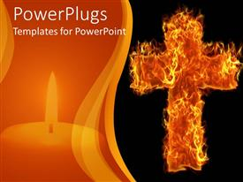 PowerPoint template displaying a holy cross made of fire with dark background