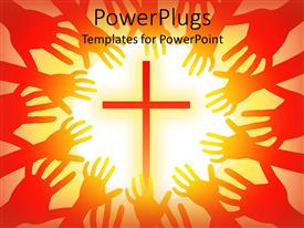 PowerPlugs: PowerPoint template with a holy cross in the middle with a lot of hands trying to hold it
