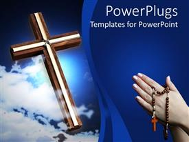 PowerPlugs: PowerPoint template with a holy cross and a pair of hands asking for forgiveness