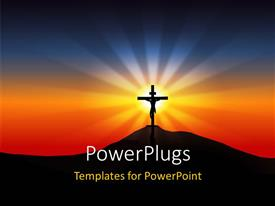 PowerPlugs: PowerPoint template with a holy cross with the sunset in the background