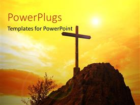 PowerPoint template displaying a holy cross on top of a hill