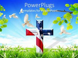 PowerPoint template displaying a holy cross with USA banner and a number of doves flying