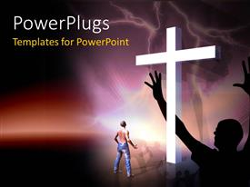 PowerPoint template displaying a holy cross with various people praying