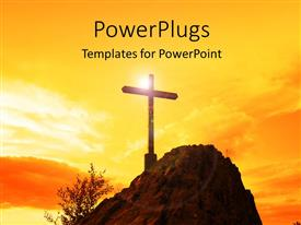 PowerPoint template displaying a holy cross with yellowish background and place for text