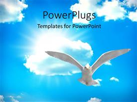 PowerPlugs: PowerPoint template with holy spirit bird on Royal blue starburst color