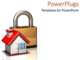 PowerPlugs: PowerPoint template with home security metaphor with house and padlock