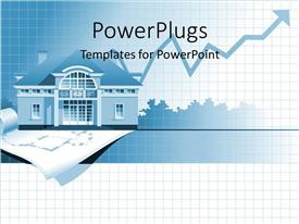 PowerPoint template displaying home values rising, line graph chart, house, blueprints, real estate investing, mortgages, housing market