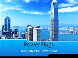 PowerPlugs: PowerPoint template with landscape view of mega city with skyscrapers