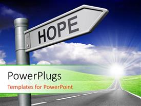 PowerPoint template displaying hope signpost showing direction to bright future with sky in background