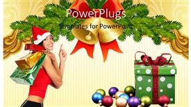 PowerPoint template displaying a Christmas celebration with a girl