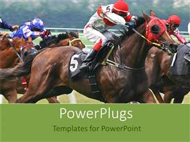 PowerPoint template displaying horse race with jockeys on horses, racing, competition