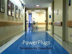 PowerPoint template displaying hospital corridor with a blurred figure of a nurse moving hospital equipment