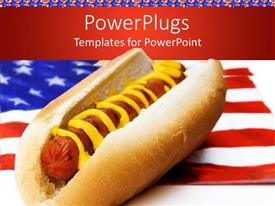 PowerPlugs: PowerPoint template with hot dog with mustard on American flag napkin