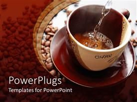 PowerPlugs: PowerPoint template with hot water is flowing into cup to make coffee