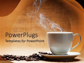 PowerPlugs: PowerPoint template with a hot white cup of coffee with beans on the side and brown background