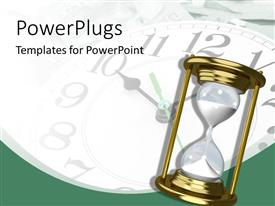 PowerPlugs: PowerPoint template with hourglass old clock time passes history present past future white background