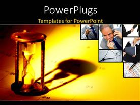 PowerPlugs: PowerPoint template with an hourglass with yellowish background and place for text